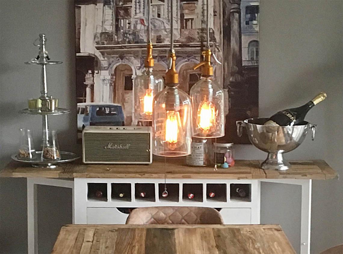 Industrial Deckenleuchte Lichtinstallation Esszimmer Hängeleuchte Sodaflasche Syphonflasche Retro