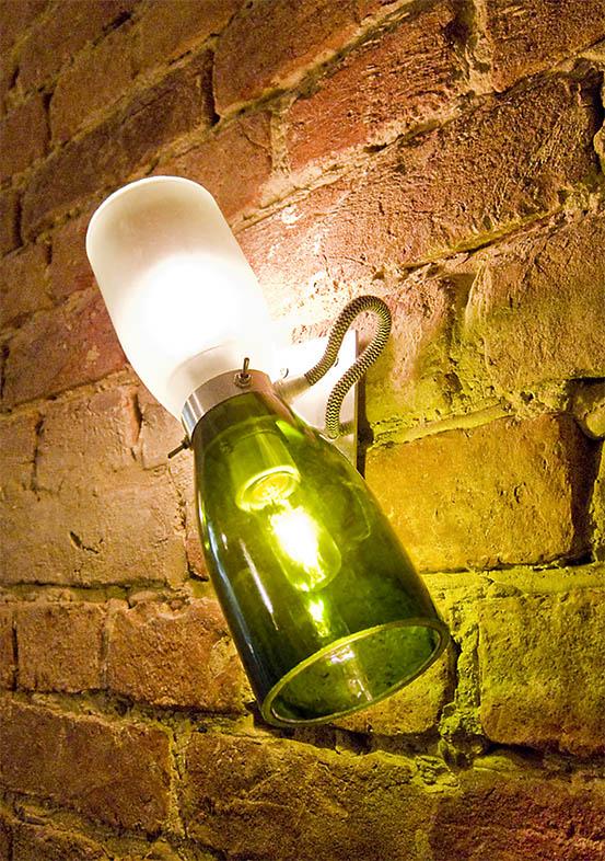 industrial leuchte wandleuchte doppelleuchte upcycling champagnerflaschen